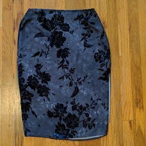 Ann Klein Silk and Velvet Pencil Skirt